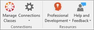 Sąraše piktogramų, įskaitant klasės valdymas, ryšiai, Professional plėtros, ir žinynas ir atsiliepimai.