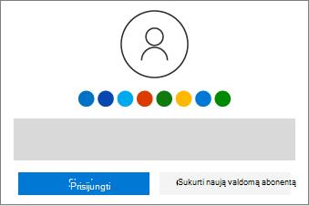 Rodomi prisijungimo arba naujos paskyros kūrimo mygtukai.