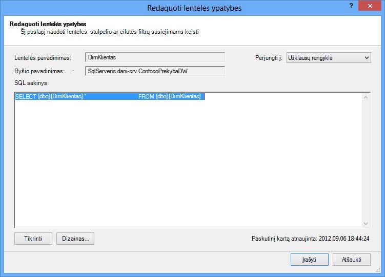 SQL užklausa naudojant numatytąją trumpesnę sintaksę