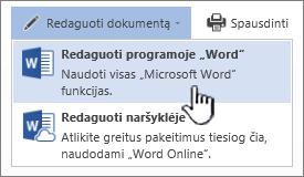 """""""Word"""" dokumentas, atidarytas iš """"SharePoint"""" bibliotekos, su paryškinta parinktimi Redaguoti naudojant """"Word"""""""
