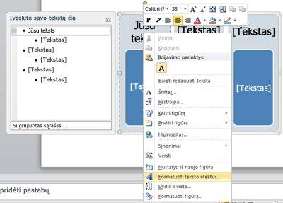 """SmartArt"" grafinis elementas su tekstu"