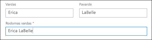 """Ekrano nuotrauka, kaip įtraukti vartotojo """"Office 365"""", rodantis laukus vardas ir pavardė, rodomas vardas."""