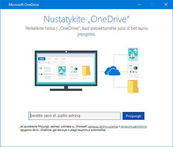 """OneDrive"" sąrankos ekrano naujoji VS"