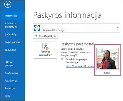 """Keisti nuotraukos saitą programoje """"Outlook"""""""