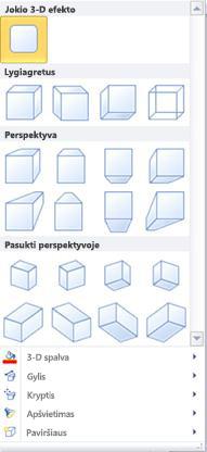 """WordArt"" 3-D efektų parinktys programoje ""Publisher 2010"""