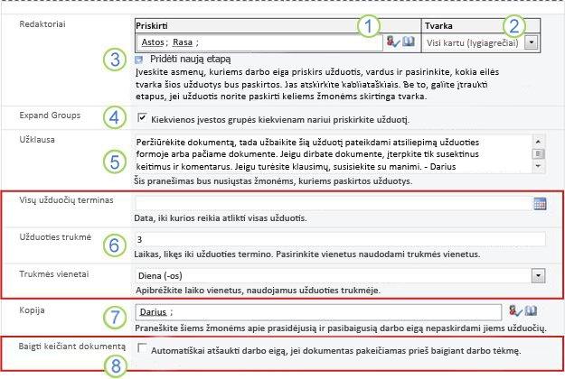 Antras sąsajos formos puslapis su sunumeruotais paaiškinimais