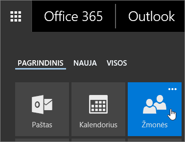 """Ekrano nuotrauka žymeklį užvedę pelę virš žmonių plytelių į """"Office 365"""" taikomųjų programų vykdyklė."""