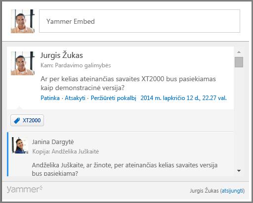 """""""Yammer"""" įdėjimo ekrano nuotrauka"""