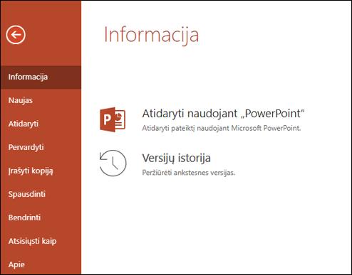 """""""Office Online"""" skirtukas informacija rodo versijų retrospektyvos elementą."""