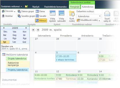 """Kelių kalendorių naudojimas programoje """"SharePoint"""""""