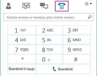 Telefono piktogramos ekrano nuotrauka, kurioje matosi numerio rinkiklis, naudojamas skambinant