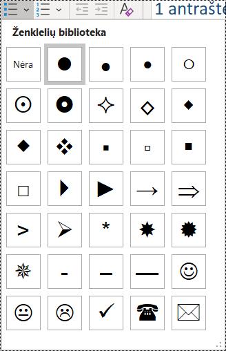 Pagrindiniame meniu pažymėto ženklelių sąrašo elemento ekrano nuotrauka.