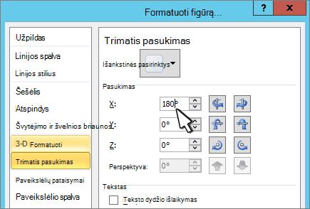 Dialogo langas figūros formatavimas su pasirinktu 3D X pasukimas
