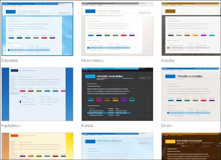 """""""SharePoint Online"""" puslapis, kuriame rodomi svetainės šablonų vaizdai"""