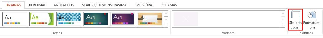 Skirtuko Dizainas grupėje Tinkinimas spustelėkite Skaidrės dydis.