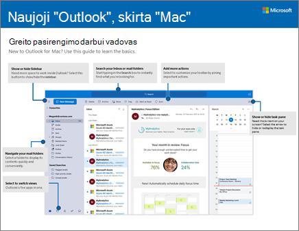 """""""Outlook 2016"""", skirtos """"Mac"""", greito pasirengimo darbui vadovas"""
