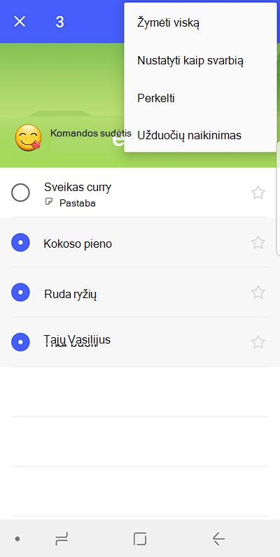 """Ekrano kopija, kurioje parinktį perkelti užduotis """"Android"""""""