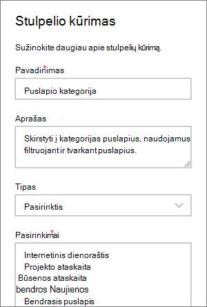 Interneto dienoraščių kategorijos pasirinkimo stulpelio nustatymo pavyzdys