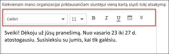 """Internetinės """"Outlook"""" automatinių atsakymų pranešimas"""