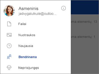 """Bendrai naudojamas rodinys programoje """"OneDrive"""""""