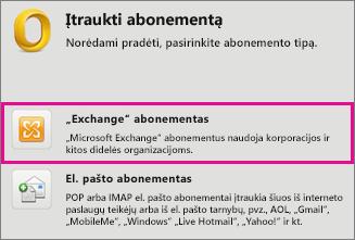 """Įrankiai > Paskyros > """"Exchange"""" paskyra"""