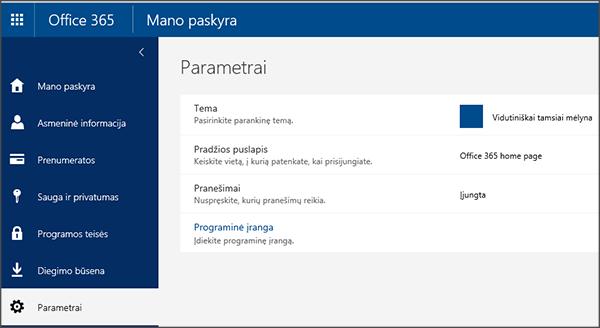 """""""Office 365"""" parametrų puslapį"""