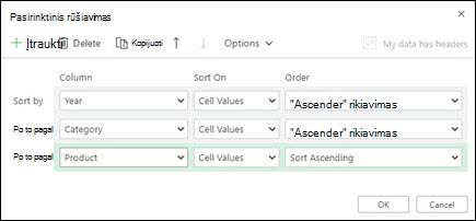 """Tinkintas rūšiavimas programoje """"Excel"""" žiniatinklyje iš duomenų > rikiuoti & filtrą."""