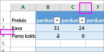 Dvigubos juostos stulpelių ar eilučių antraštėse rodo paslėptas eilutes arba stulpelius