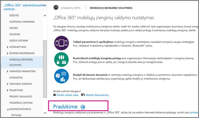 """Mobiliųjų įrenginių valdymo nustatymas """"Office 365"""""""
