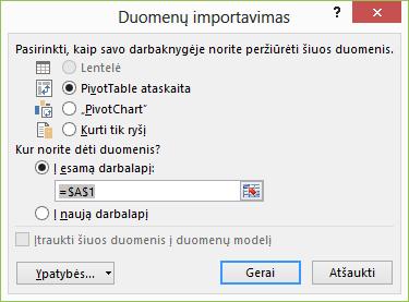 Duomenų ryšio vedlys > duomenų importavimas