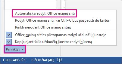 """""""Word 2013"""" mainų srities parinktys"""