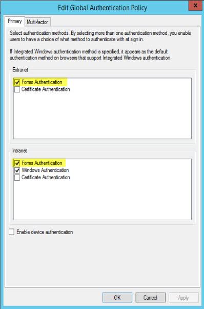 ADFS formų autentifikavimo ekrano kopija