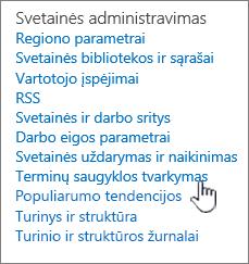 Terminų saugyklos valdymo saitą svetainės parametrai dalyje