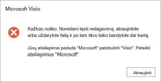 """Visio"" failo redagavimo klaida įvyko klaida"