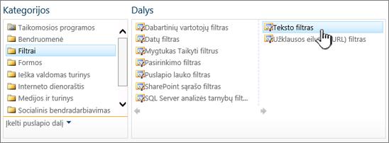 Teksto filtro puslapio dalių žymėjimas