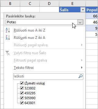 Meniu Filtras, meniu Rodyti reikšmę, laukų iš susietų duomenų tipo sąrašas