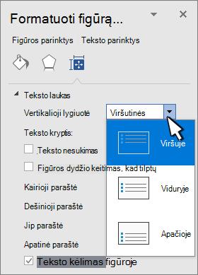 Formatavimo figūros skydas su pasirinktu vertikaliu lygiuotę