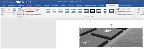 Skirtuko Paveikslėlių įrankiai lapo Formatas grupės Koreguoti mygtukas Glaudinti paveikslėlį