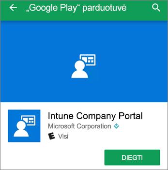 """Ekrano kopija, kurioje rodomas """"Google Play Store"""" esantis """"Intune"""" įmonės portalo diegimo mygtukas"""
