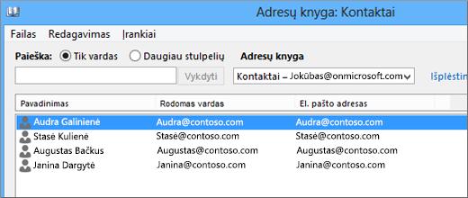 """Kai kontaktai bus importuoti iš """"Google Gmail"""" į """"Office 365"""", juos matysite adresų knygelėje: Kontaktai"""