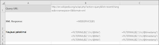 FILTERXML funkcijos pavyzdys