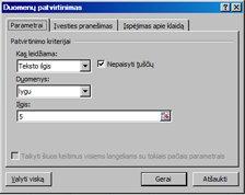 Duomenų tikrinimo dialogo langas