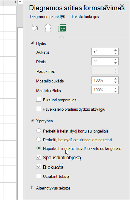 Ypatybių srities diagramos srities formatavimas