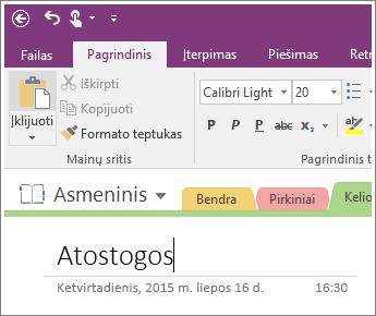 """Įtraukimo puslapio pavadinimą į puslapį programoje """"OneNote 2016"""" ekrano nuotrauka"""