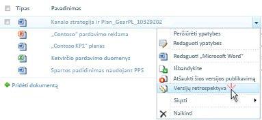 """Išplečiamajame sąraše, """"SharePoint"""" failas. Versijų retrospektyva yra pažymėtas."""