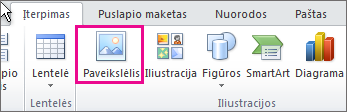 """""""Office 2010"""" paveikslėlių įterpimas"""