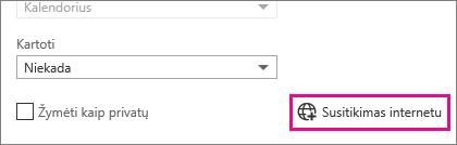 """""""Outlook Web App"""", susitikimo internete mygtukai"""