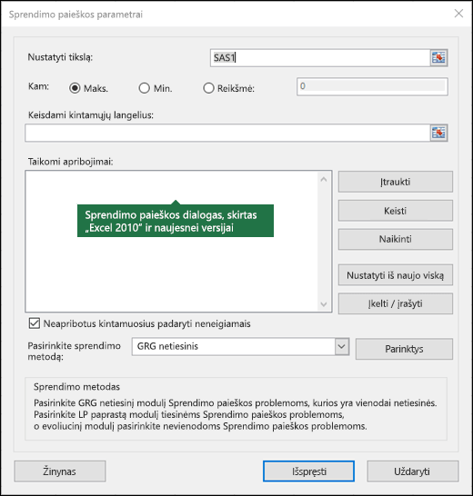 Dialogo lange Excel 2010 + sprendimo vaizdas