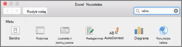 Office2016 Mac juostelės įrankių nuostatas
