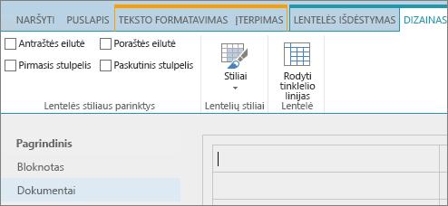 """""""SharePoint Online"""" juostelės ekrano kopija. Naudokite skirtuką Dizainas norėdami lentelėje pažymėti  antraštės eilutės, poraštės eilutės, pirmo stulpelio ir paskutinio stulpelio žymės langelius, pasirinkti lentelės stilius ir nurodyti, ar lentelėje naudojamas tinklelis."""
